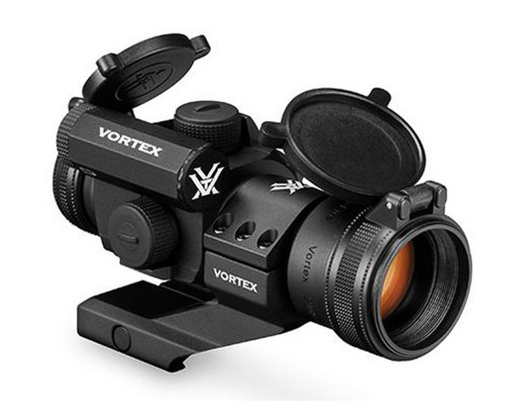 Vortex StrikeFire II 4 MOA Bright Red Dot. Feature-rich, versatile and reliable, the StrikeFire II is a great choice for shooters who want a quality red dot sight, but don't want to break the bank. Features sleek rear-facing controls for power on/off and easy adjustment of ten dot intensity levels—lowest two settings are night-vision compatible. Automatically returns to the last dot intensity used when powered up.