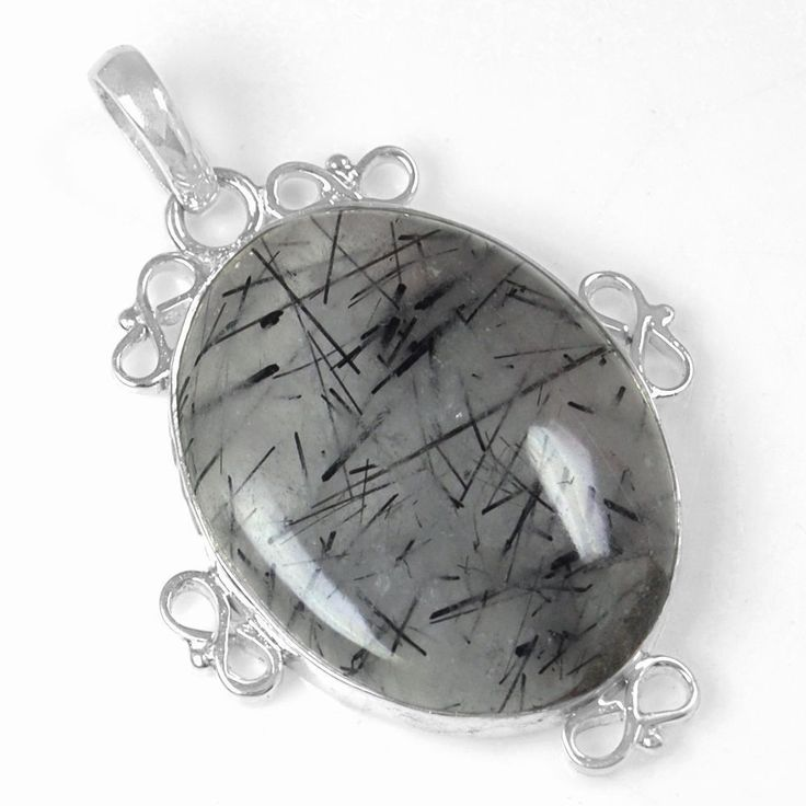 8.77 Gram 925 Sterling Silver Natural Black Rutile Hand Made Pendant Top Jewelry