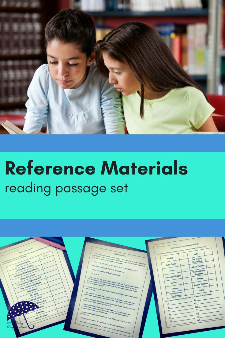 Do you need to teach your students about reference materials? This reading passage set includes three stories about kids using reference materials from dictionaries to atlases. You also get several worksheets for your students to practice identifying different reference materials. Keep your lesson planning simple. Click to check it out.