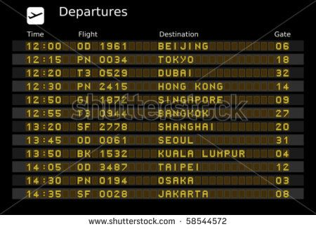 Departure board vector, ABC and 123 for easy editing your own messages are outside the view. Asia destinations: Beijing, Tokyo, Dubain, Hong Kong, Singapore, Bangkok, Shanghai, Taipei and Jakarta