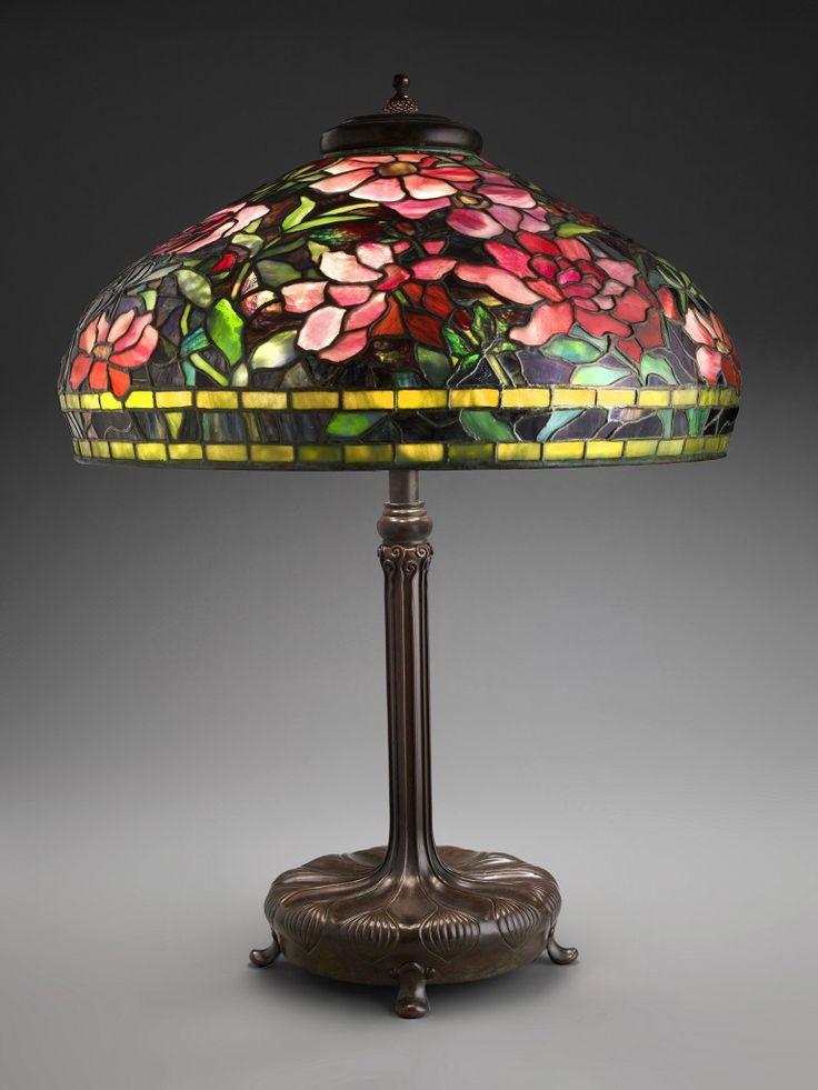 Table lamp with peony shade, c. 1903-05 Dreihaus, Chicao