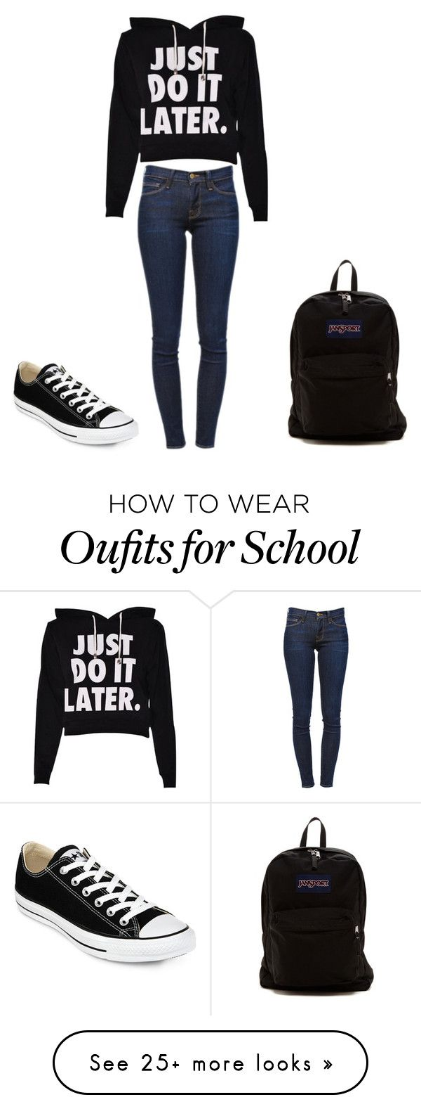 School Outfit by xoxomadisonxoo on Polyvore featuring Frame Denim, Converse, JanSport, womens clothing, women, female, woman, misses and juniors
