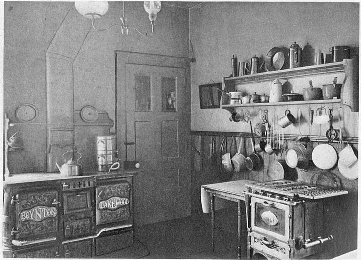 Kitchen from 1906 Craftsman Magazine. Notice there is both a wood stove and gas range.