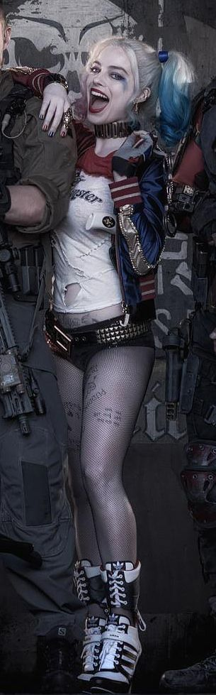 """eatbloganddie:  Margot Robbie as Harley Quinn in""""Suicide Squad""""Margot is wearing a""""J"""" on the zipper of her jacket, and""""Puddin"""" is tattooed into her thigh!"""