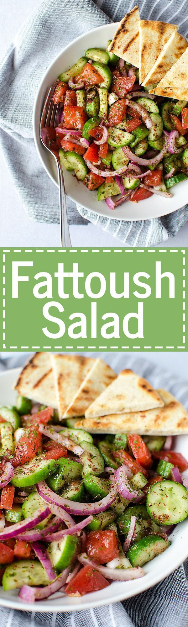 Fattoush Salad - A simple and easy Middle Eastern salad that comes together in just minutes. It's piled high with fresh veggies and leaves you feeling healthy and satisfied. (Vegan