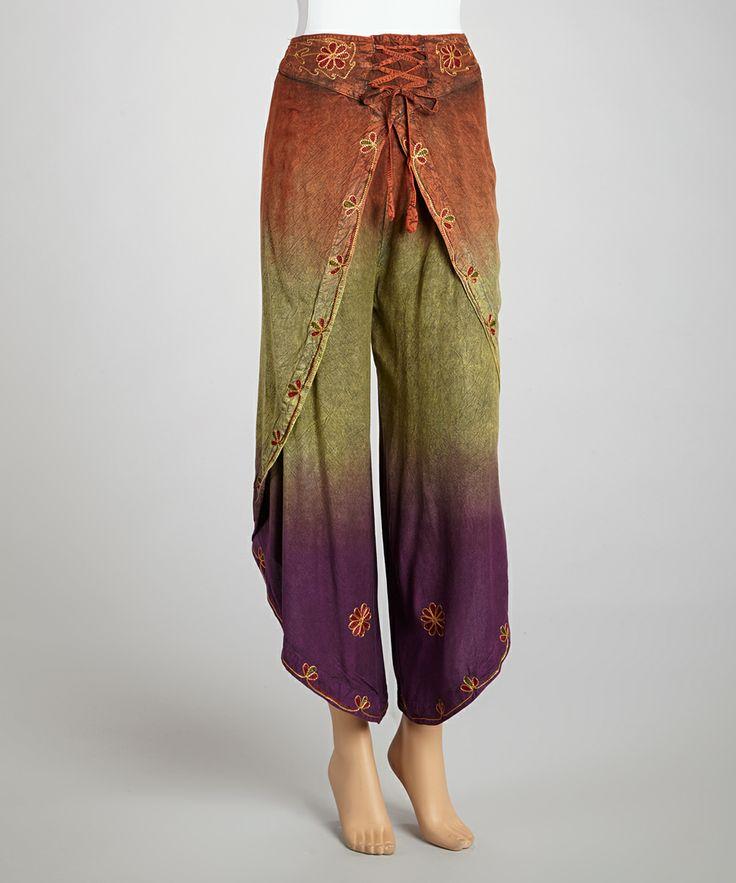 Purple & Green Dhothi Pants | zulily