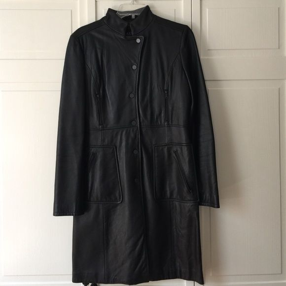 Kenneth Cole Women's Leather coat Like new woman's leather coat. Only worn a few times. Perfect perfect condition. Still in original bag. Kenneth Cole Jackets & Coats