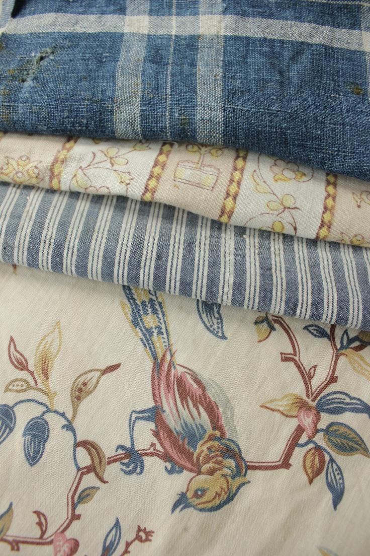 c. 1900-1910 Antique Vintage French fabrics materials ~Project Bundle ~ aged blues | eBay