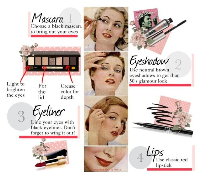 """""""Classic 1950's makeup look"""" by ellapage ❤ liked on Polyvore featuring beauty, Benefit, Bobbi Brown Cosmetics, Prescriptives, Stila, Chanel and vintage"""