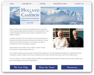 A site we designed for local lawyers, Holland & Cameron, who have enjoyed a long standing presence in downtown Comox.
