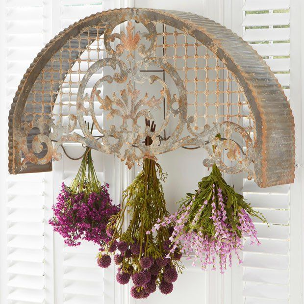 Distressed Arched Tin Wall Mounted Flower Hanger Tin Walls