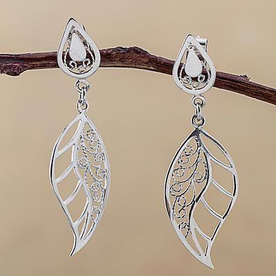 Sterling silver filigree dangle earrings, 'Afternoon Leaf' - Sterling Silver Dangle Earrings Leaf Shape from Peru
