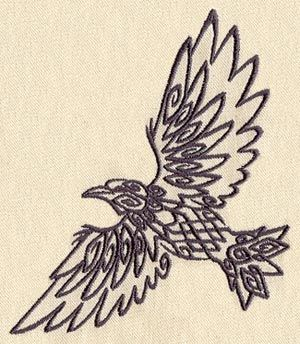 "Embroidery Designs at Urban Threads - Tribal Raven (#UT1106) 4.32""w x 4.76""h 24 May 2011"