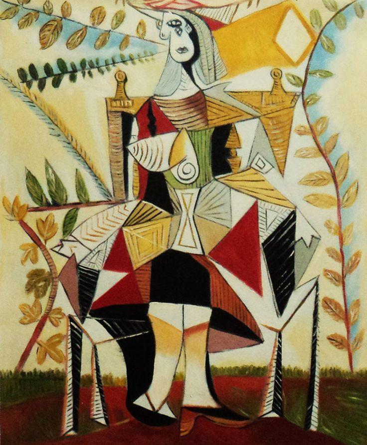 """Releitura da obra """"Mulher Sentada em um Jardim"""" de Picasso  A pintura original foi produzida em um único dia (10 de dezembro de 1938).   É uma alusão ao relacionamento complexo que Picasso teve com Dora Maar, uma de suas mulheres.  No quadro, a figura de Dora aparece como que emaranhada em uma teia de aranhas, que representa exatamente a complexidade do relacionamento, que foi muito conflituoso, em função do ciúme doentio de Dora por Picasso."""