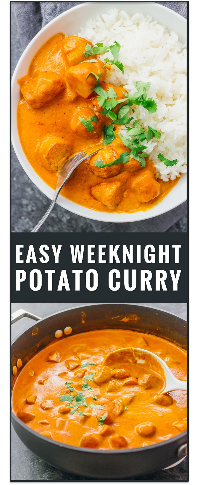 This easy vegetarian potato curry has a delicious orange sauce similar to an Indian tikka masala sauce. vegetarian chicken tikka masala recipe, dinner, fast, easy, recipe, dum aloo, vegan, indian, meals, sweet, chickpea, lentil, soup, thai, coconut via @savory_tooth