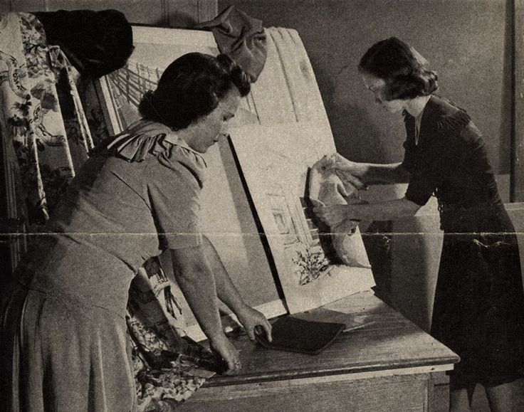 NYSID Students At Work On A Presentation Board Ca 1944