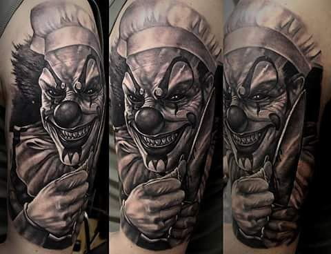 194 best scary clown tattoos images on pinterest clown tattoo scary clowns and horror tattoos. Black Bedroom Furniture Sets. Home Design Ideas