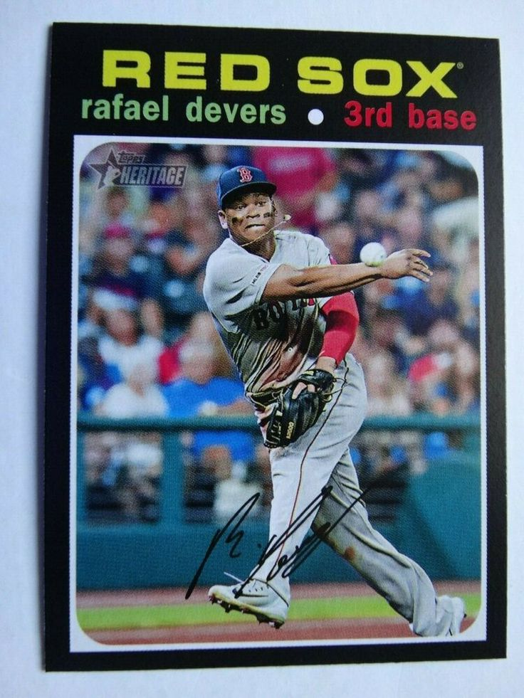 2020 topps heritage 145 rafael devers red sox action