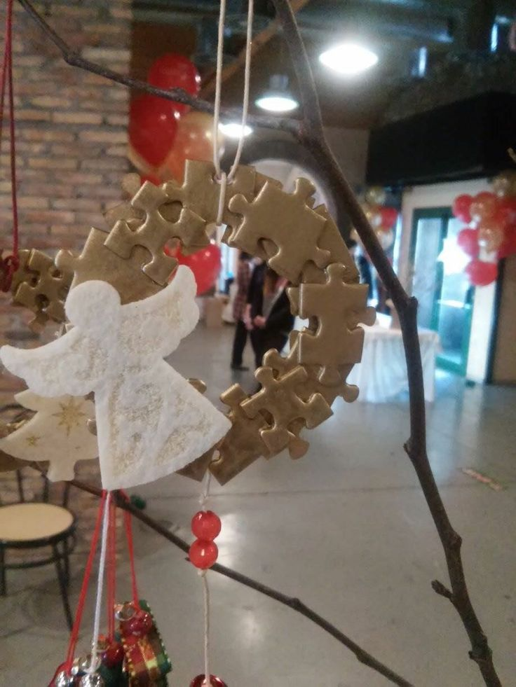 Handmade Christmas Ornament for Christmas Tree made from puzzle pieces  Χειροποίητο Χριστουγεννιάτικο Στολίδι για το Δέντρο από κομμάτια παζλ
