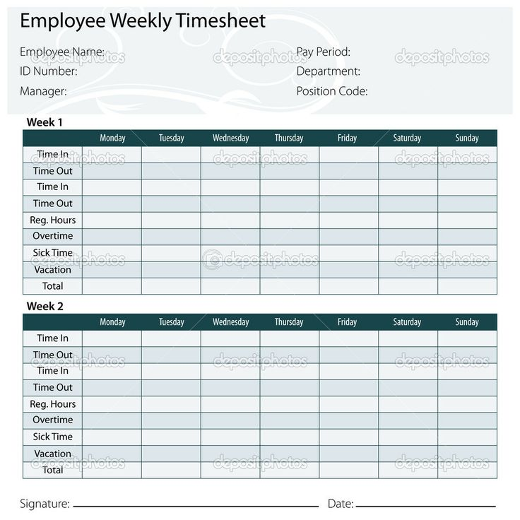 35 best images about timesheets – Free Timesheet Forms