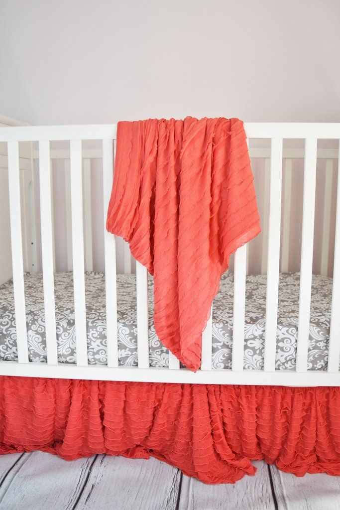 "43"" Square Baby Blanket - Many Colors Available - Ruffle Receiving Blanket - Also Great as a Throw Blanket!"