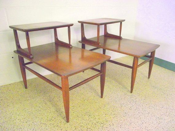 2 Mid Century Mersman 2 Tier Side Step Back Tables   Retro Eames Era Atomic  End