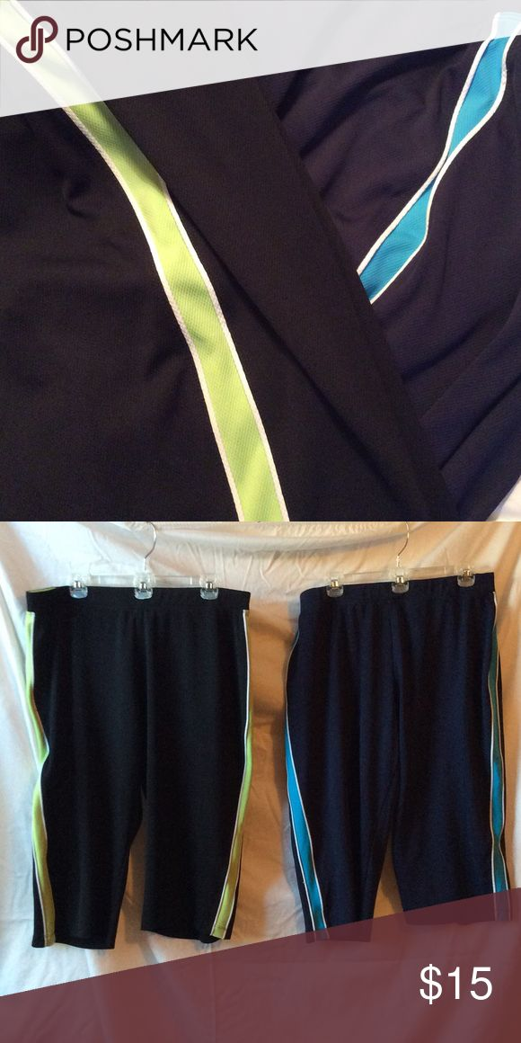 2 pair Workout Capris Black with green and white tuxedo stripe, navy with blue and white tuxedo stripe; Petite XL; 100% poly; 26 1/2 inches long; drawstring waist; perfect for casual summer wear or hitting the gym Saint John's Bay Active Pants Track Pants & Joggers