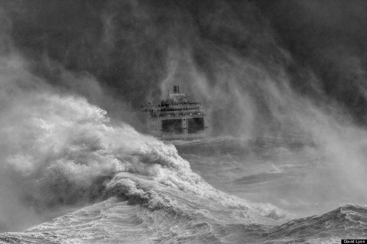 Ferry leaving Newhaven harbour in storm, East Sussex, England by David Lyon – Winner, Your view - UK Landscape Photographer of the Year Awards