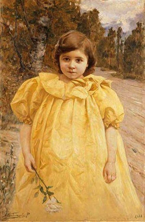 I am a frilly lemon.  Girl with Yellow Dress - Alfredo Valenzuela Puelma