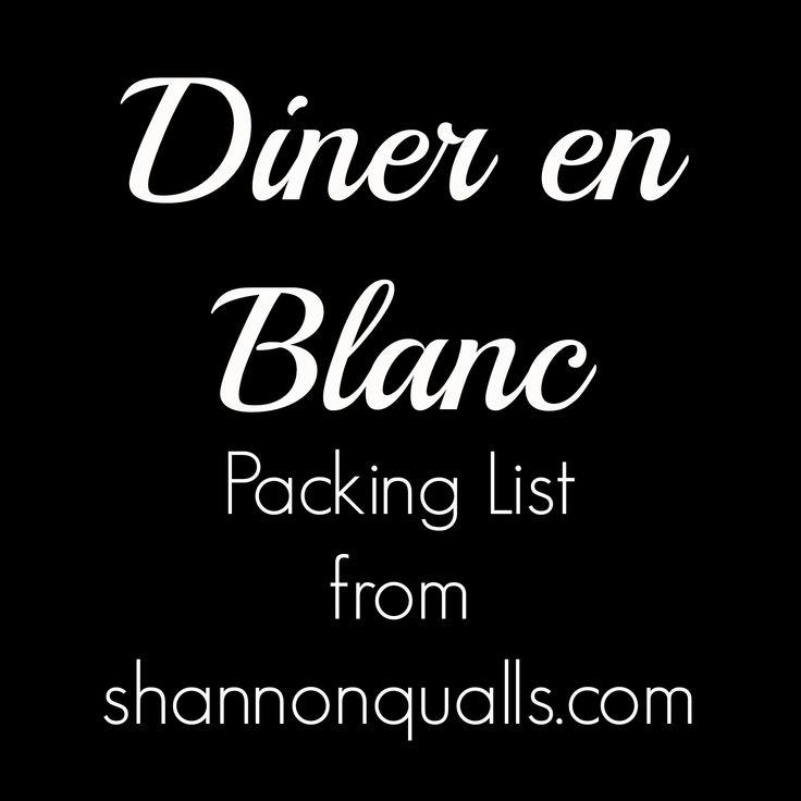 Diner en Blanc Packing List from shannonqualls.com
