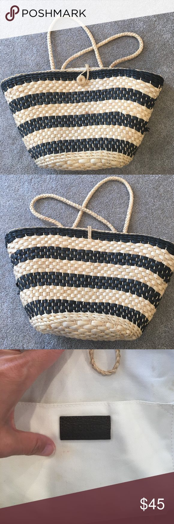 J Crew Beach Straw Bag Black and beige straw bag with pocket. Used a few times but in great condition. Look at the pics for imperfections. J. Crew Bags Totes