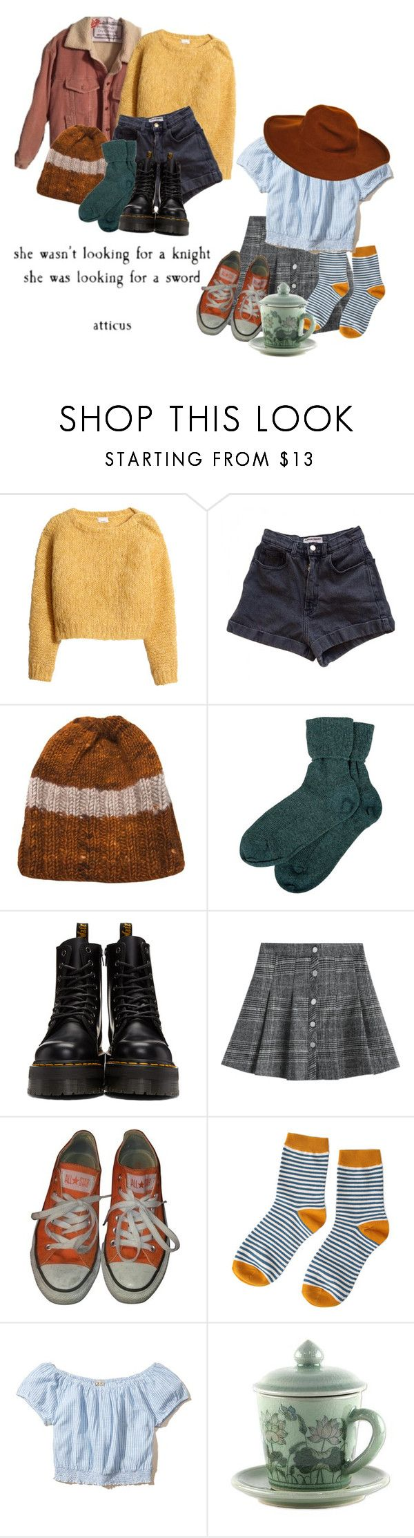"""""""been hanginaround this town"""" by shiasunflower ❤ liked on Polyvore featuring H&M, American Apparel, Raif, Brora, Dr. Martens, Converse, Hollister Co., NOVICA and Oscar de la Renta"""
