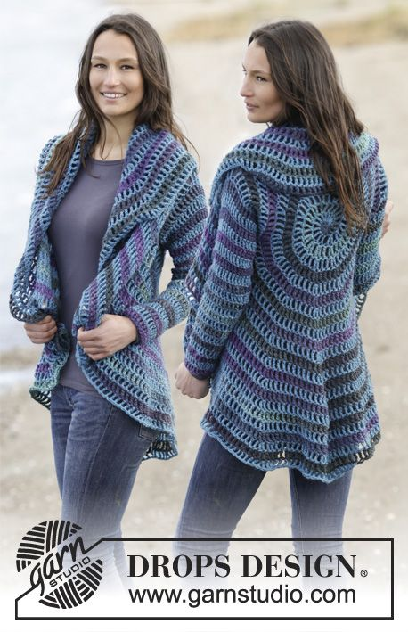 "Gypsy Blue - Crochet DROPS jacket worked in a circle in ""Big Delight"" and ""Karisma"". Size: S - XXXL. - Free pattern by DROPS Design"