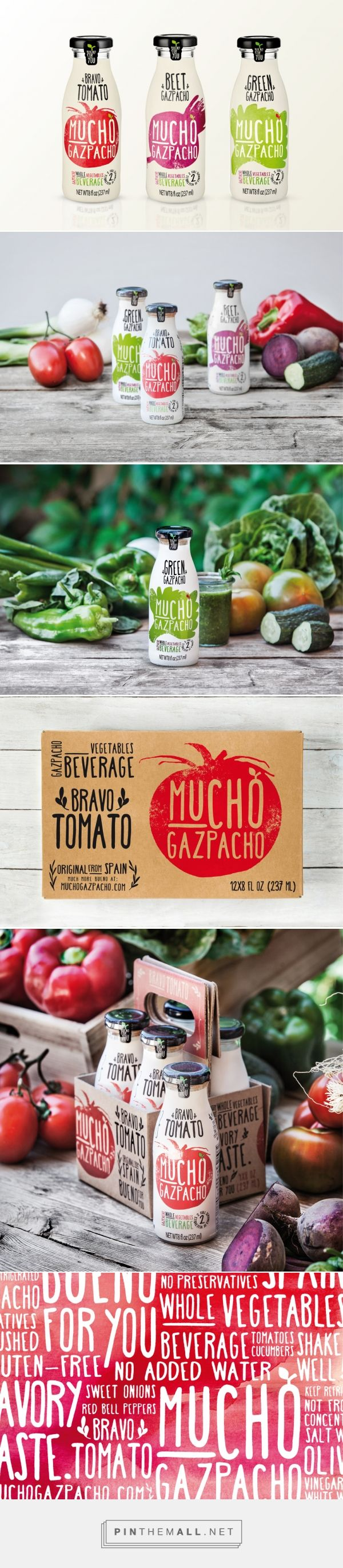 Mucho Gazpacho Packaging - Estudio Versus. Diseño gráfico, comunicación, campañas publicitarias, identidad corporativa, packaging, editor... - a grouped images picture - Pin Them All