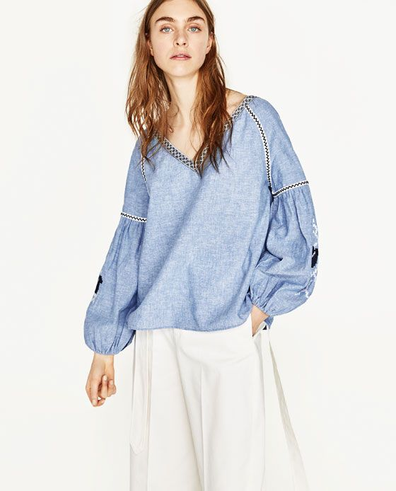 Image 2 of PLAIN EMBROIDERED BLOUSE from Zara