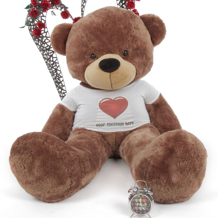 33 best personalized unique gifts giant teddy bears images on 6ft mocha giant teddy bear sunny cuddles personalized red heart shirt negle Images