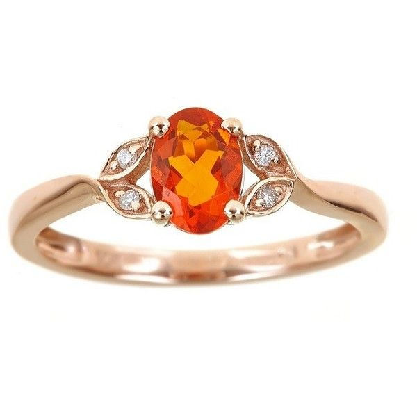 Anika and August 10k Rose Gold Oval-cut Fire Opal Diamond Accent Ring ($209) ❤ liked on Polyvore featuring jewelry, rings, orange, rose ring, anniversary band rings, orange ring, oval stone ring and round cut diamond rings
