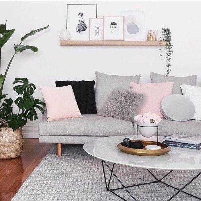 idee deco salon très douce et féminine, couleur peinture salon blanc, canapé et tapis gris, coussins rose qui ajoutent une touche de finesse