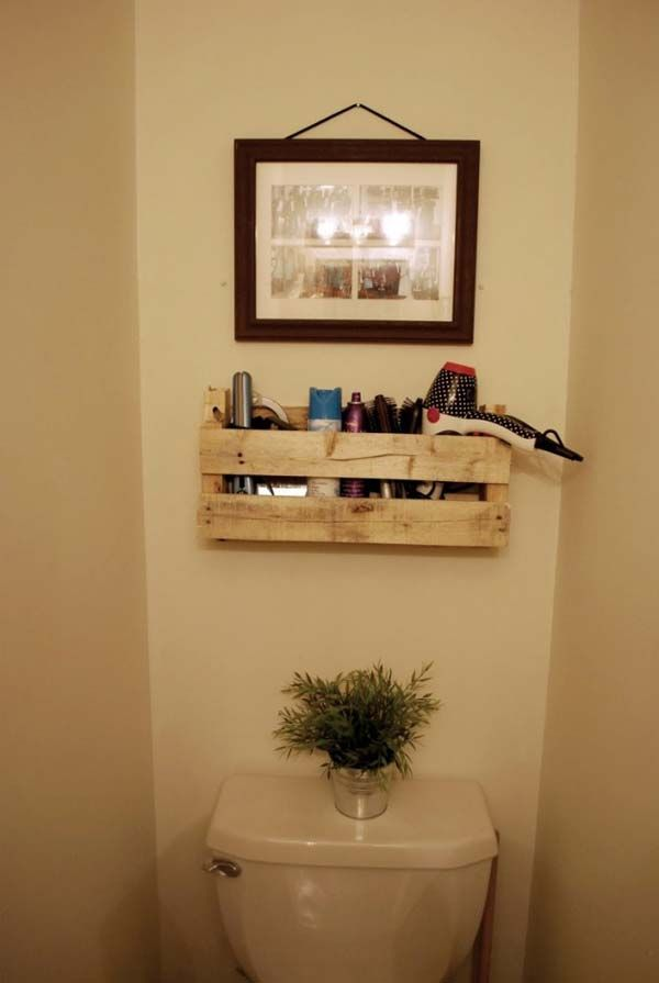 pallet shelf to store hair products - 25 Easy and Cheap Pallet Storage Projects You Can Make Yourself