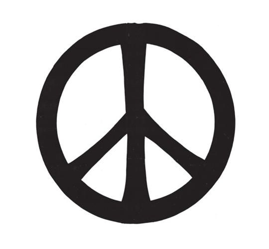 "The original shape of the CND symbol with widening outstretched 'arms', following Gerald Holtom's design. ""Of the lollipop signs he designed for the event, half displayed the symbol in black on white, the other half white on green. """"Just as the church's liturgical colors change over Easter,"" CND explain, ""so the colors were to change, 'from Winter to Spring, from Death to ...."