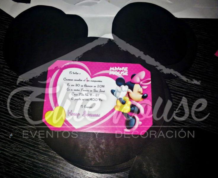 Tarjeta de Invitación Minnie Mouse. Elite house, eventos y decoraciones.  Barranquilla, Atlántico  Fb: www.facebook.com/elitehousebq  Instagram: elitehousebq  Web: www.elitehousebq.blogspot.com.co