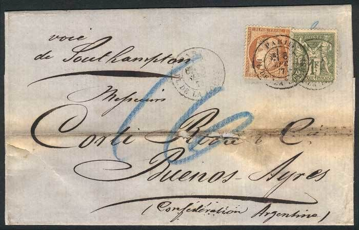 France, 7/SEP/1877 PARIS - ARGENTINA: folded cover franked by Yv.38 + 72 (total 1.40Fr.), with Buenos Aires arrival backstamp. Little defects, very nice combination of 2 issues! Starting Price (11/2016): 157 EUR.