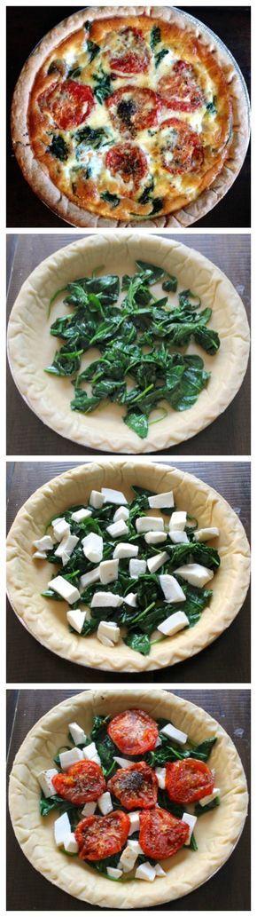Quiche de espinacas, tomate natural y mozzarella.