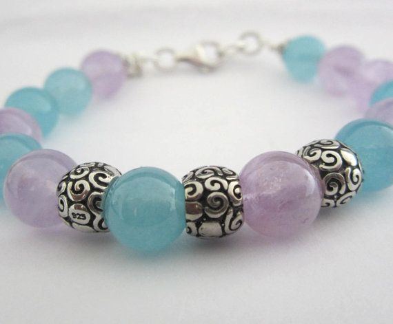 Lavender and Aqua Gemstone Bracelet Bangle Brangle by GemsbyGia, $109.00