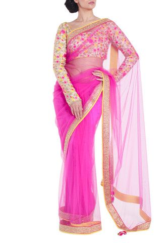 VIKRAM PHADNIS Lightweight pink net saree with gold sequinned borders. Contrasting, fully embroidered, semi stitched blouse with full length sleeves and beautiful floral 'resham' thread work included. #Saree #floralsaree #fashion #indianfashion