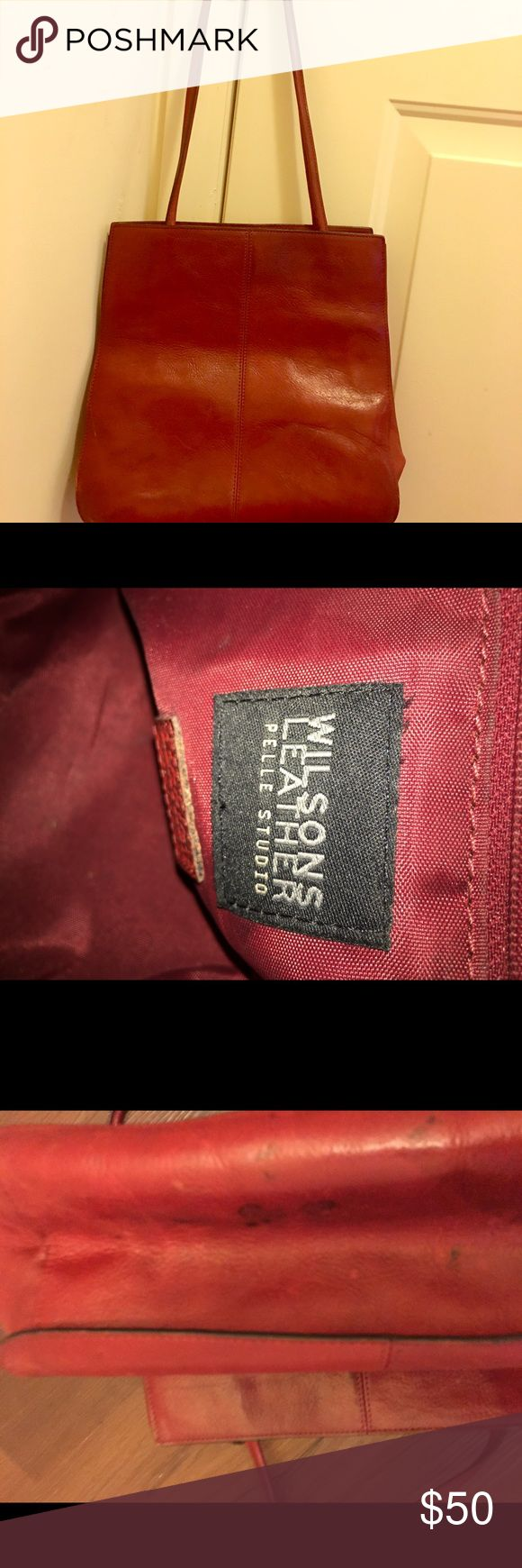Wilson dark red/Burgundy leather Tote bag Previously owned, Dressy Tote bag can be used for Work or Casual Attire Wilsons Leather Bags Totes