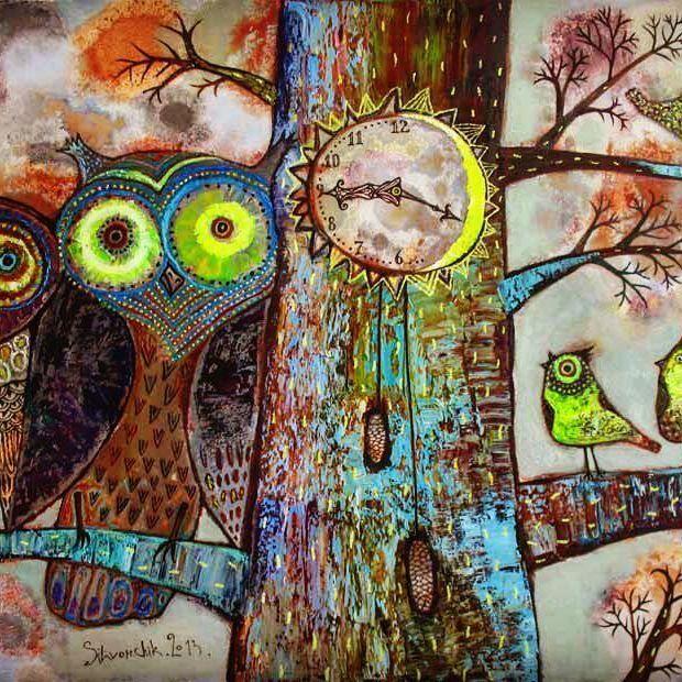 """Жаворонки и совы"" 2013г. 60х90. холст. масло ""Larks and Owls"" 2013. 60x90cm. Oil on canvas Anna Silivonchik http://silivonchik.ru/ #art #artgallery #wood #lark #owl #tree #artwork #painting #oiloncanvas #illustration #picture #annasilivonchik #живопись #совы #птицы #искусство #творчество #картина #анастливончик"