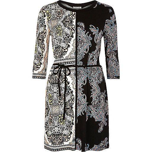 Zwarte tuniek met bloemenprint en ceintuur in de taille - t-shirts / hemdjes - sale - dames