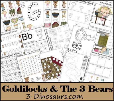 Free Goldilocks & The Three Bears Pack - Over 70 pages of activities plus a 37 page TOT pack - 3Dinosaurs.comKids Stuff, Goldilocks Book, Goldilocks And The 3 Bears, Fairy Tales Preschool Theme, Free Printables, Free Goldilocks, Bears Printables, Prek Goldilocks, Fairies Tales