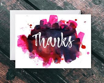 Personalised Thank You Card - Thank You Card Bulk - Thank You Card Pack - Thank You Card Set - Personalised Card - Watercolour Thank You